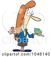 Royalty Free RF Clip Art Illustration Of A Cartoon Businesswoman Trying To Fit A Peg Into A Hole by toonaday