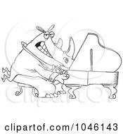 Royalty Free RF Clip Art Illustration Of A Cartoon Black And White Outline Design Of A Rhino Pianist