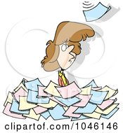 Royalty Free RF Clip Art Illustration Of A Cartoon Woman Standing In A Pile Of Paperwork
