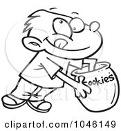 Royalty Free RF Clip Art Illustration Of A Cartoon Black And White Outline Design Of A Boy Reaching In A Cookie Jar by toonaday
