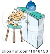 Royalty Free RF Clip Art Illustration Of A Cartoon Baby Trying To Get A Cookie Jar