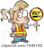 Royalty Free RF Clip Art Illustration Of A Cartoon Patrol Girl Holding A Stop Sign