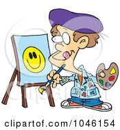 Royalty Free RF Clip Art Illustration Of A Cartoon Boy Painting A Smiley Face by toonaday