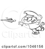 Royalty Free RF Clip Art Illustration Of A Cartoon Black And White Outline Design Of A Boy Throwing A Paper Plane by toonaday