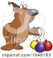 Royalty Free RF Clip Art Illustration Of A Cartoon Birthday Bear With Deflating Balloons