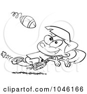 Royalty Free RF Clip Art Illustration Of A Cartoon Black And White Outline Design Of A Running Girl Catching A Football