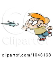 Royalty Free RF Clip Art Illustration Of A Cartoon Boy Throwing A Paper Plane by toonaday