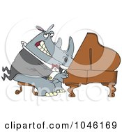 Royalty Free RF Clip Art Illustration Of A Cartoon Rhino Pianist by toonaday