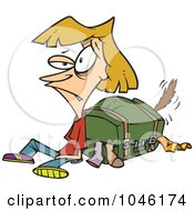 Royalty Free RF Clip Art Illustration Of A Cartoon Exhausted Woman By Her Packed Suitcase by toonaday