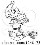 Royalty Free RF Clip Art Illustration Of A Cartoon Black And White Outline Design Of A Boy Cramming Books In His Mouth by toonaday
