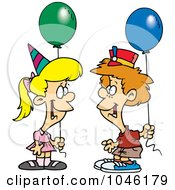 Royalty Free RF Clip Art Illustration Of A Cartoon Birthday Boy And Girl With Balloons