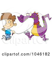 Royalty Free RF Clip Art Illustration Of A Cartoon Boy Walking A Dragon by toonaday