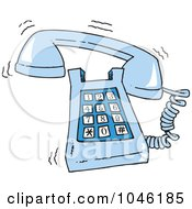 Royalty Free RF Clip Art Illustration Of A Cartoon Ringing Desk Phone by toonaday