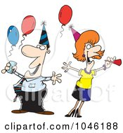 Royalty Free RF Clip Art Illustration Of A Cartoon Man And Woman At An Office Party