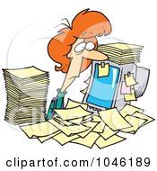 Royalty Free RF Clip Art Illustration Of A Cartoon Businesswoman Surrounded By Paperwork At Her Office Desk
