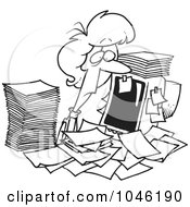 Royalty Free RF Clip Art Illustration Of A Cartoon Black And White Outline Design Of A Businesswoman Surrounded By Paperwork At Her Office Desk