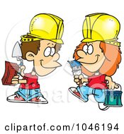 Royalty Free RF Clip Art Illustration Of Cartoon Construction Kids by toonaday