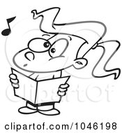 Cartoon Black And White Outline Design Of A Choir Girl Singing