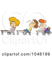 Royalty Free RF Clip Art Illustration Of A Cartoon Boy Napping In Class by toonaday