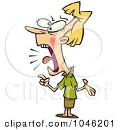 Royalty Free RF Clip Art Illustration Of A Cartoon Female Employee Screaming And Complaining