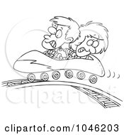 Royalty Free RF Clip Art Illustration Of A Cartoon Black And White Outline Design Of A Boy And Girl On A Roller Coaster by toonaday