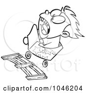 Royalty Free RF Clip Art Illustration Of A Cartoon Black And White Outline Design Of A Boy Screaming On A Roller Coaster by toonaday