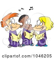 Royalty Free RF Clip Art Illustration Of Cartoon Singing Kids In A Choir by toonaday