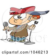 Royalty Free RF Clip Art Illustration Of A Cartoon Boy Comedian