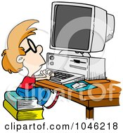Royalty Free RF Clip Art Illustration Of A Cartoon Smart Boy Using A Computer