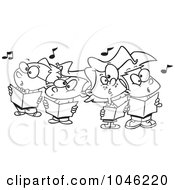 Royalty Free RF Clip Art Illustration Of A Cartoon Black And White Outline Design Of A Choir Kids Singing by toonaday