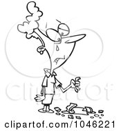 Royalty Free RF Clip Art Illustration Of A Cartoon Black And White Outline Design Of A Crying Woman With A Broken Coffee Cup