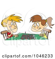 Cartoon Boy And Girl Playing Chess