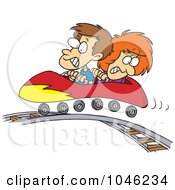 Royalty Free RF Clip Art Illustration Of A Cartoon Boy And Girl On A Roller Coaster by toonaday