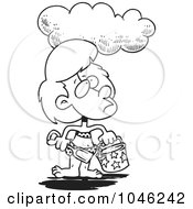 Royalty Free RF Clip Art Illustration Of A Cartoon Black And White Outline Design Of A Cloud Over A Girl At A Beach