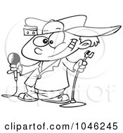 Royalty Free RF Clip Art Illustration Of A Cartoon Black And White Outline Design Of A Boy Comedian
