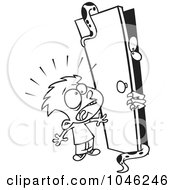 Cartoon Black And White Outline Design Of A Boy Afraid Of A Monster In A Closet