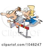 Cartoon Racing Business Man And Woman Jumping Over A Hurdle