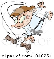 Royalty Free RF Clip Art Illustration Of A Cartoon Karate Boy Chopping Wood by toonaday