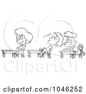 Royalty Free RF Clip Art Illustration Of A Cartoon Black And White Outline Design Of A Boy Napping In Class by toonaday