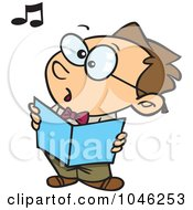 Royalty Free RF Clip Art Illustration Of A Cartoon Boy Singing In Choir by toonaday