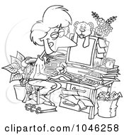 Royalty Free RF Clip Art Illustration Of A Cartoon Black And White Outline Design Of A Woman Working In Her Pjs In Her Cluttered Home Office
