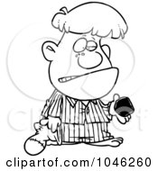 Royalty Free RF Clip Art Illustration Of A Cartoon Black And White Outline Design Of A Boy Receiving Coal For Christmas