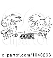 Cartoon Black And White Outline Design Of A Boy And Girl Playing Chess