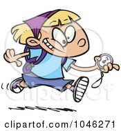 Royalty Free RF Clip Art Illustration Of A Cartoon Hiker Girl Running With A Compass by toonaday