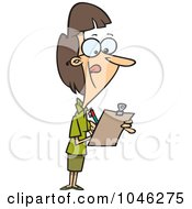 Royalty Free RF Clip Art Illustration Of A Cartoon Female Supervisor Using A Clip Board