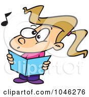 Royalty Free RF Clip Art Illustration Of A Cartoon Choir Girl Singing by toonaday