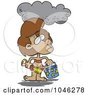 Royalty Free RF Clip Art Illustration Of A Cartoon Cloud Over A Girl At A Beach