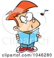 Royalty Free RF Clip Art Illustration Of A Cartoon Choir Boy Singing by toonaday