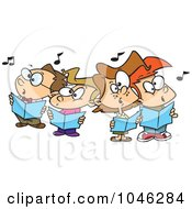 Royalty Free RF Clip Art Illustration Of Cartoon Choir Kids Singing