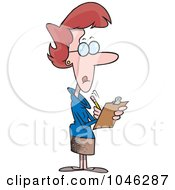 Royalty Free RF Clip Art Illustration Of A Cartoon Female Manager Using A Clip Board